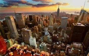 Обои New-York City sunset: Город, Закат, Небоскрёбы, Дома, Нью-Йорк, Города