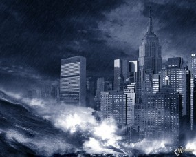 Обои Стихия: Конец света, Цунами, Большой город, Шторм, 3D Города