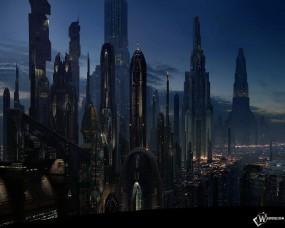 Обои Город будущего: Небоскрёбы, Многоэтажки, Мегаполис, Высотки, 3D Города