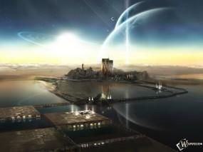 Обои Неземной город: НЛО, Колония, Другая планета, Неземное, 3D Города