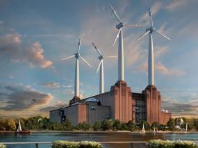 Обои Ветряная электростанция: Ветряки, Электростанция, Энергия, 3D Города