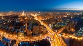 Обои Москва с высоты птичьего полёта: Огни, Дорога, Ночь, Москва, Москва