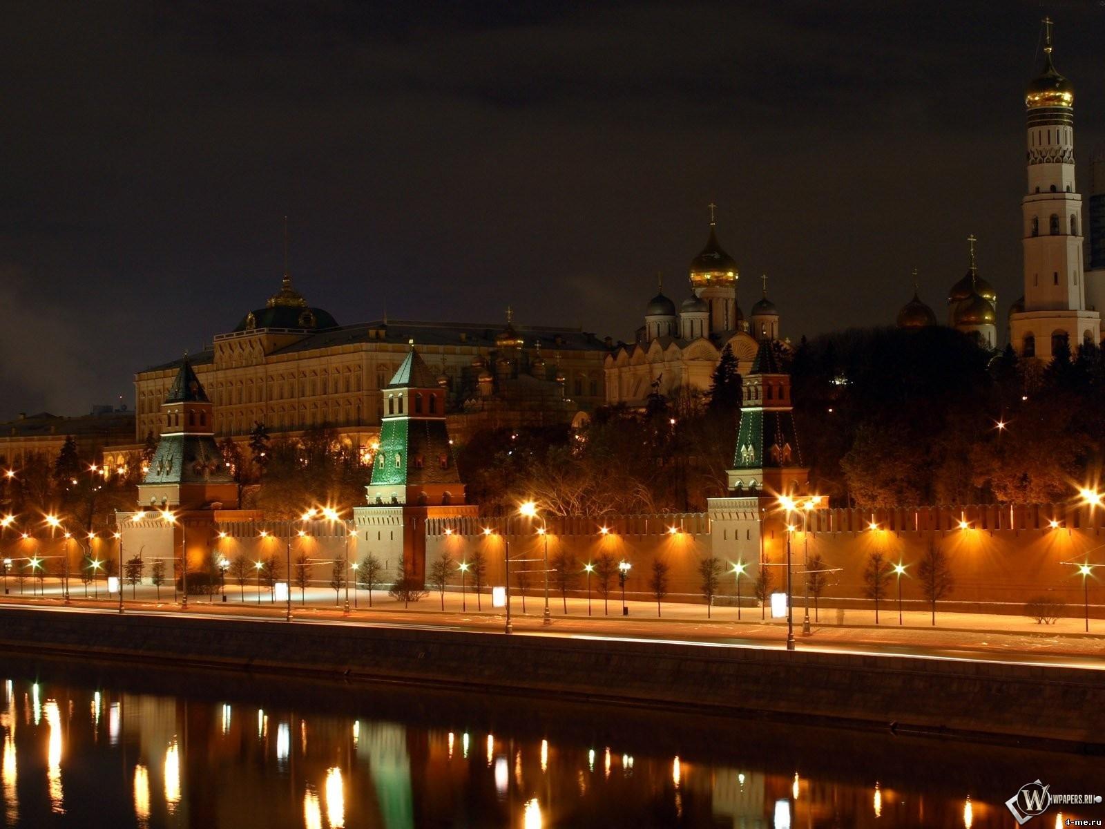 Вид на ночной Кремль (Москва) 1600x1200