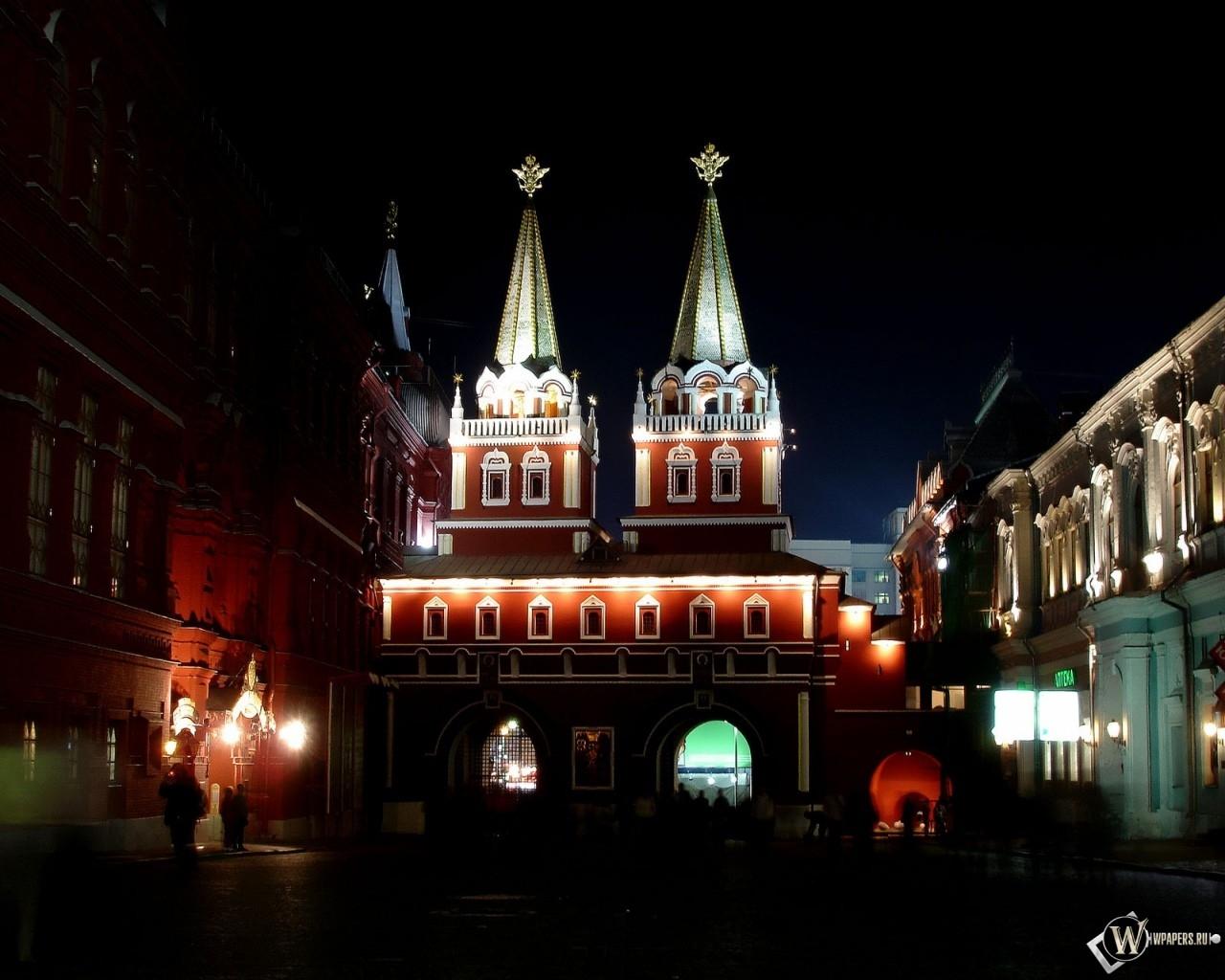 Москва Ночь на Красной площади 1280x1024