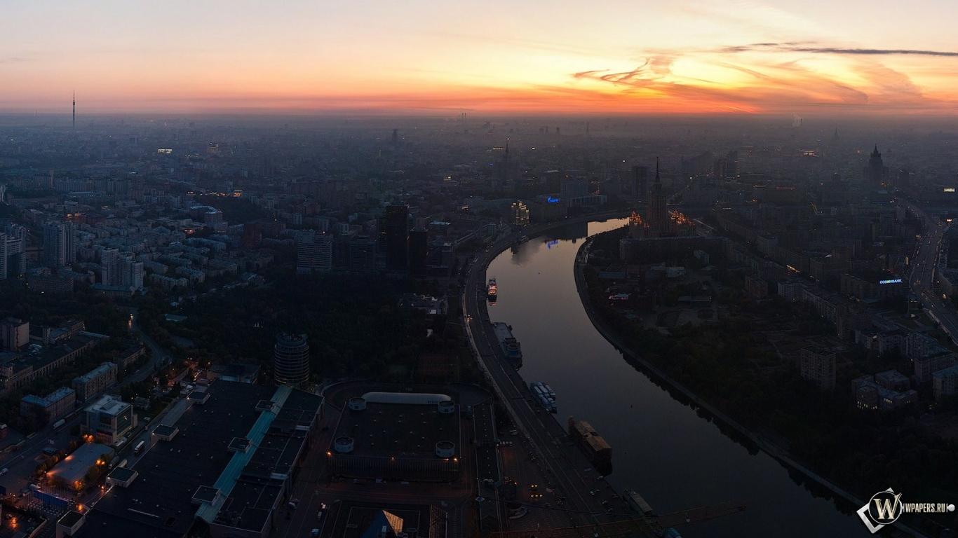 Обои москва река панорама москва