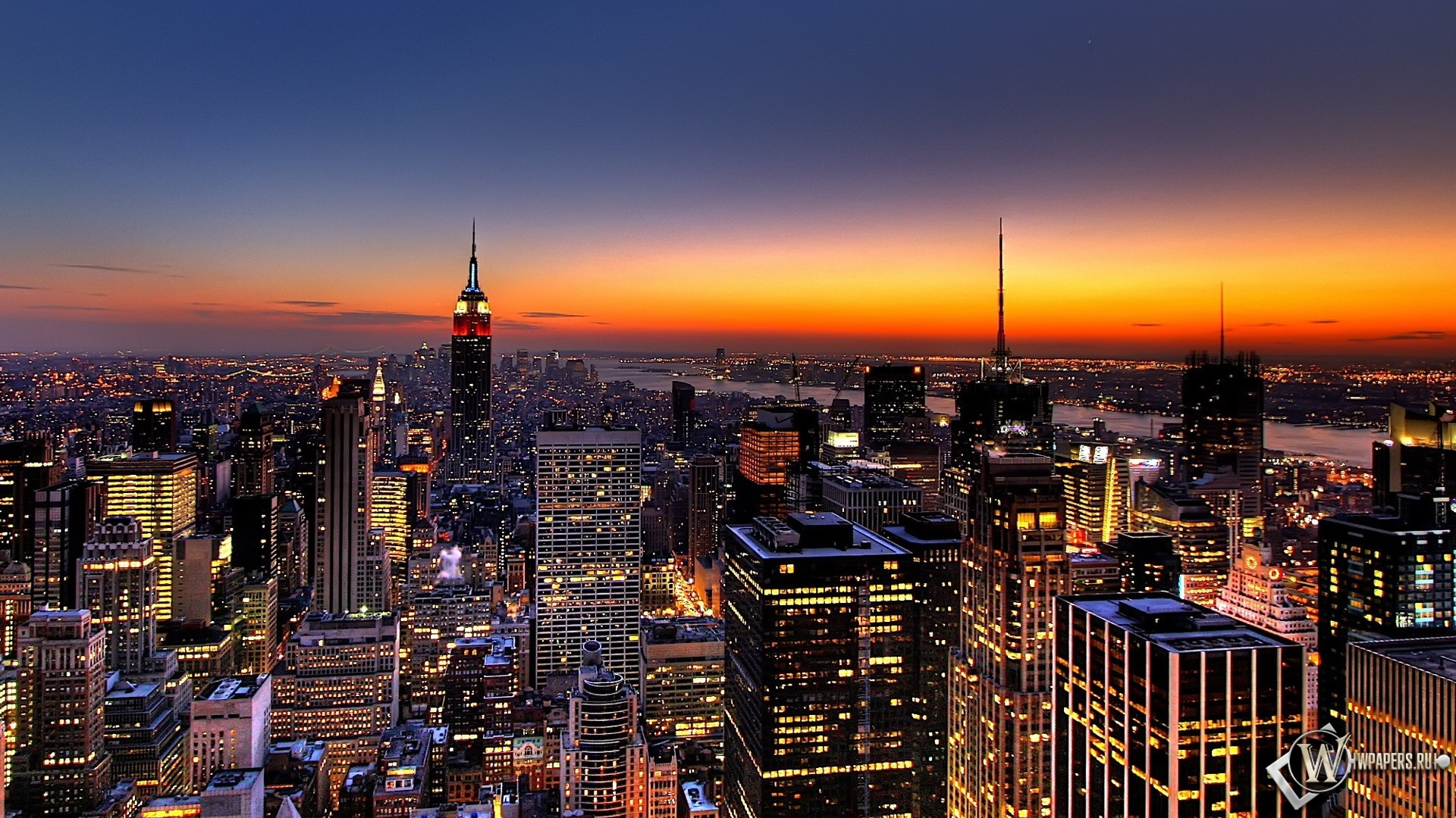 New york закат над городом 1920x1080