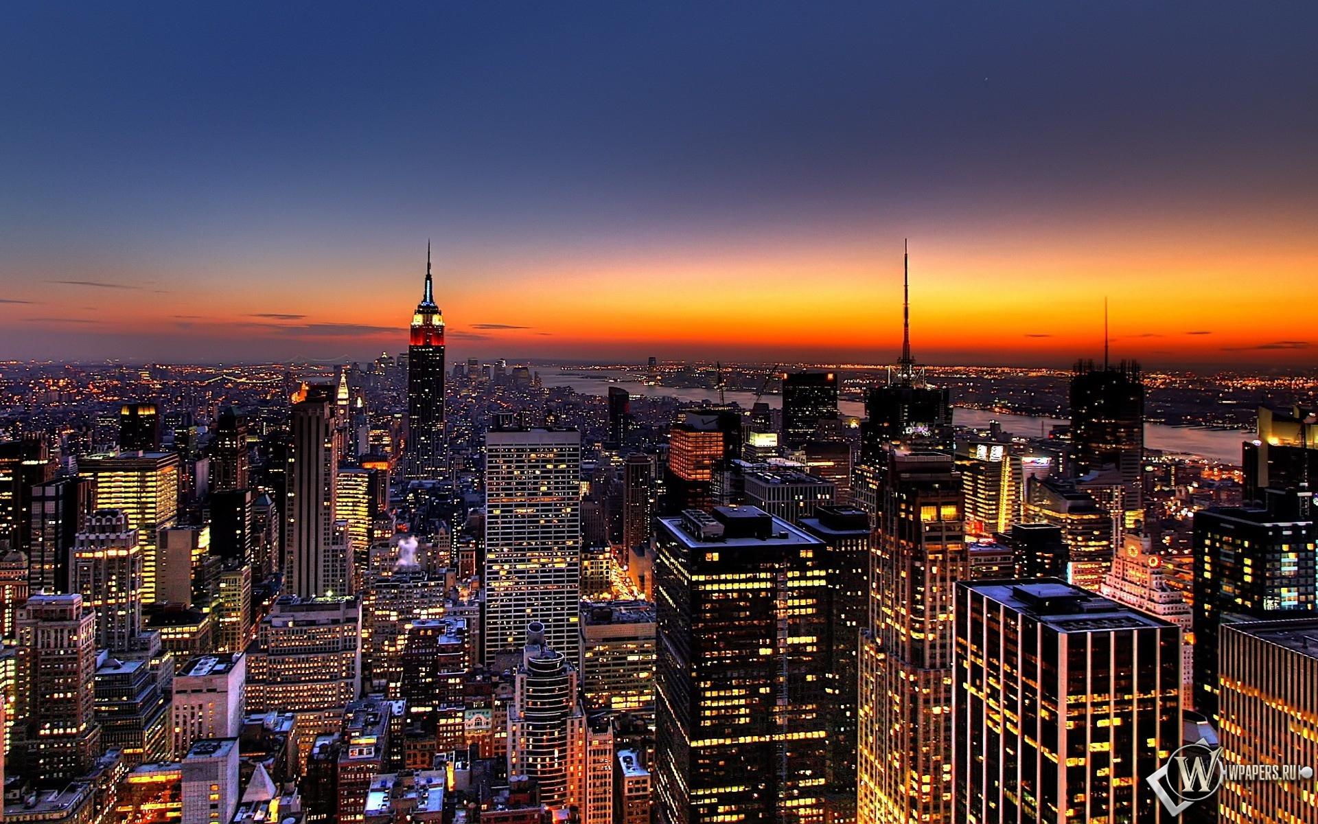 New York закат над городом 1920x1200