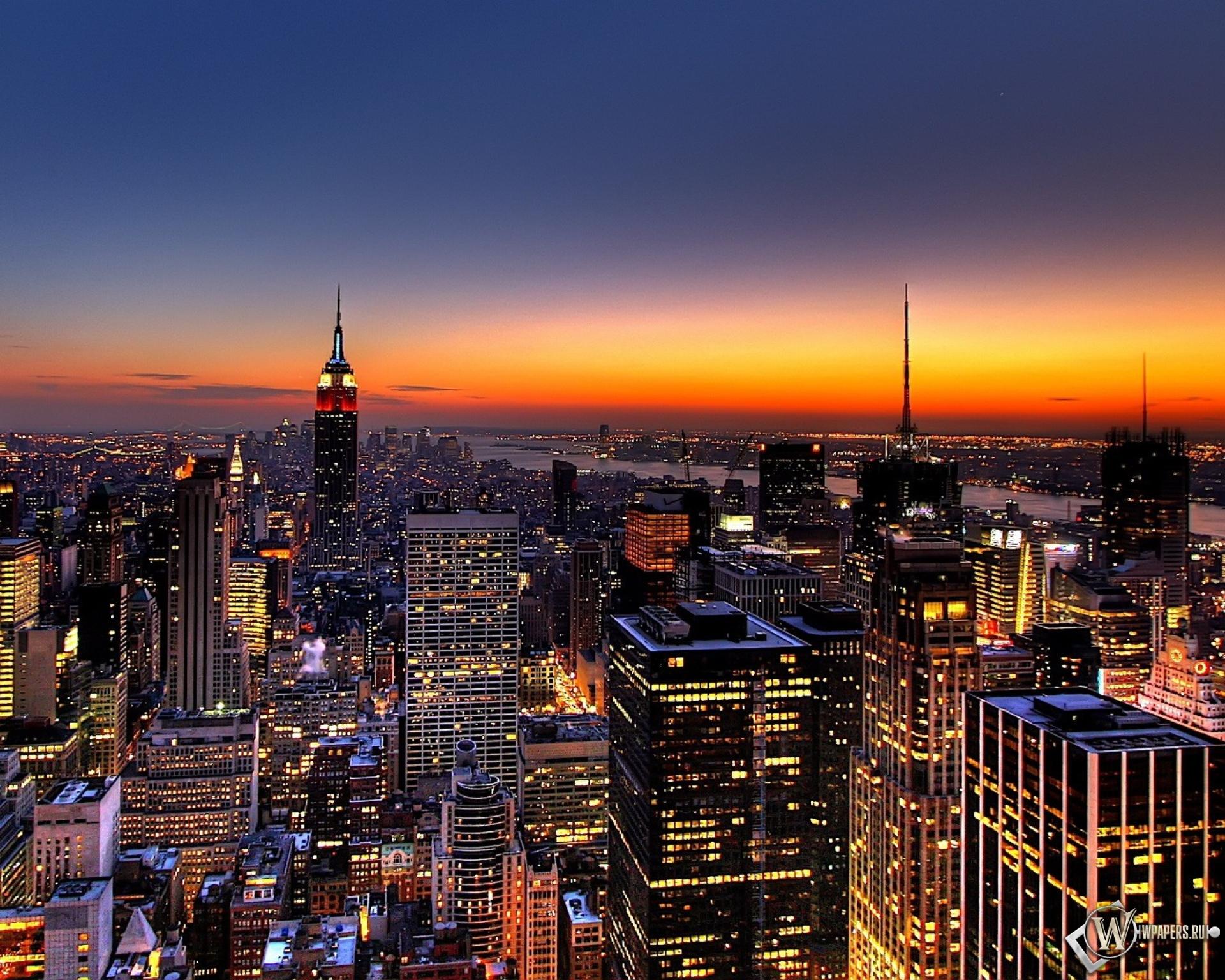Обои new york закат над городом на рабочий