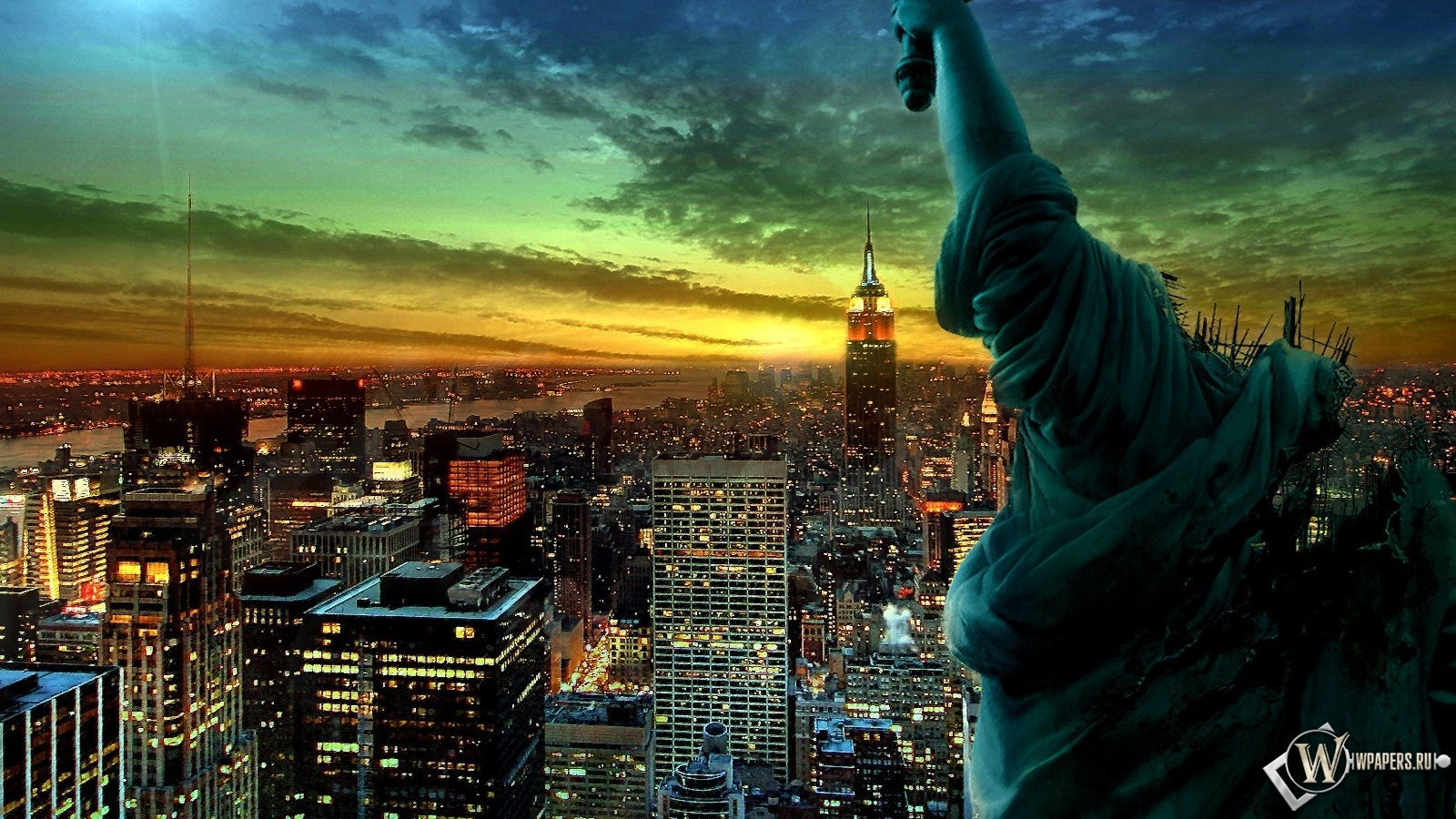 Обои ночной нью йорк на рабочий стол с