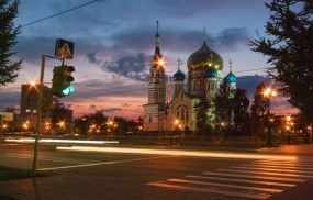 Обои Вечерний Омск: Омск, Церковь, Омск