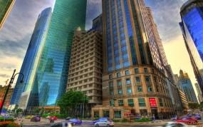 Обои Красивое HDR фото города: Небоскрёбы, Обработка, HDR, Прочие города