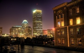 Обои Бостон: Ночь, Дома, Окна, Бостон, Города