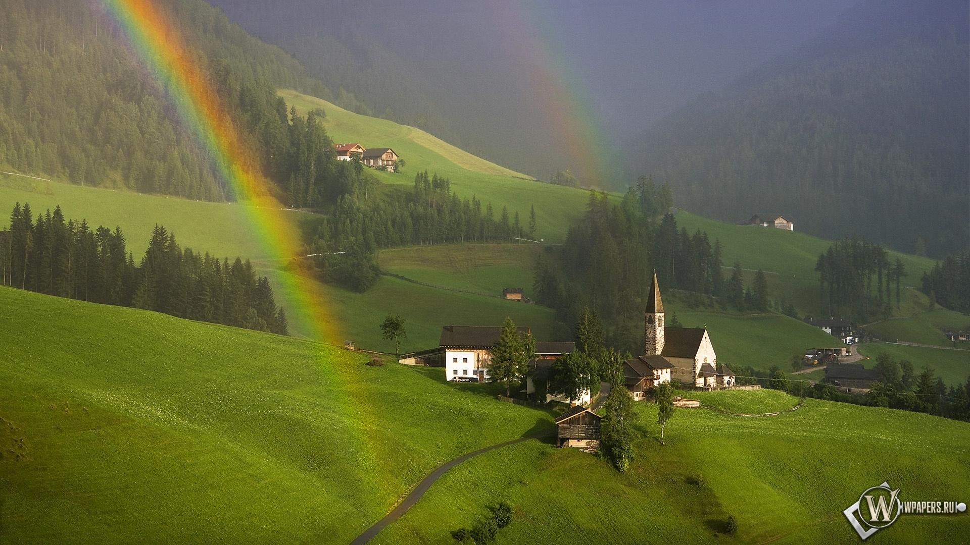 Радуга  в Южном Тироле Австрия 1920x1080