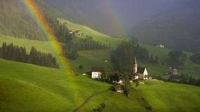 Обои Радуга  в Южном Тироле Австрия: Лес, Дома, Радуга, Прочие города