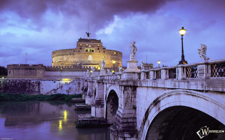 Обои италия рим мост замок италия