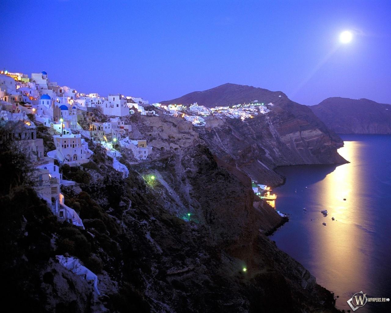 Moonrise Over Santorini - Greece 1280x1024