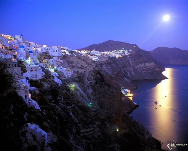 Moonrise Over Santorini - Greece