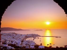 Обои Домики в Греции: Солнце, Закат, Арка, Греция, Прочие города