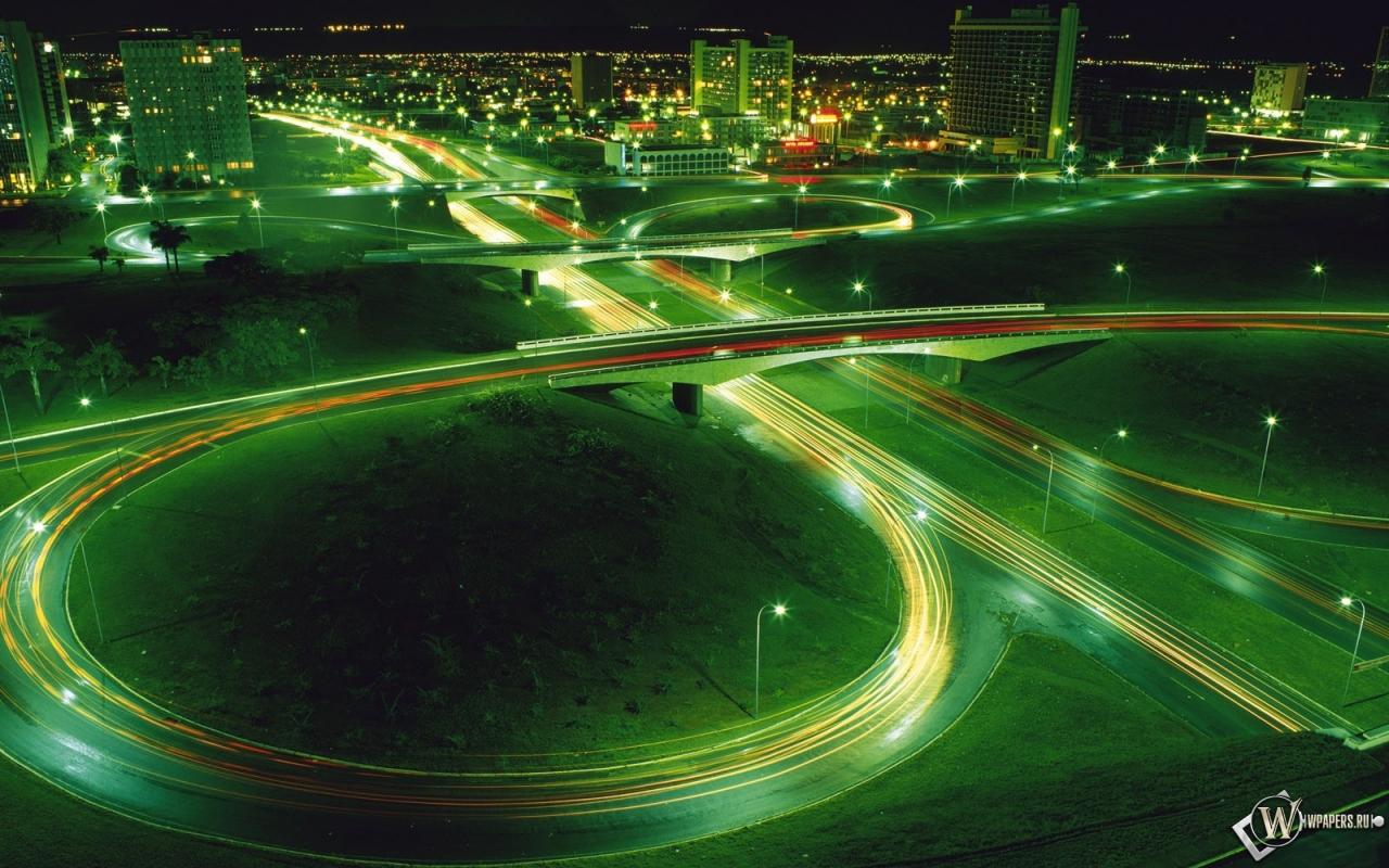 Обои ночная магистраль огни дорога