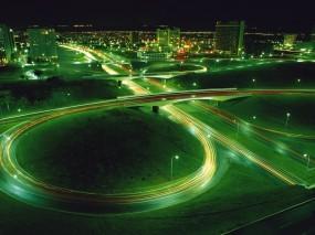 Обои Ночная магистраль: Огни, Дорога, Ночь, Развязка, Зелёный, Магистраль, Прочие города