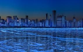Обои Ледяной город: Зима, Лёд, Небоскрёбы, Синий, Панорама, Прочие города