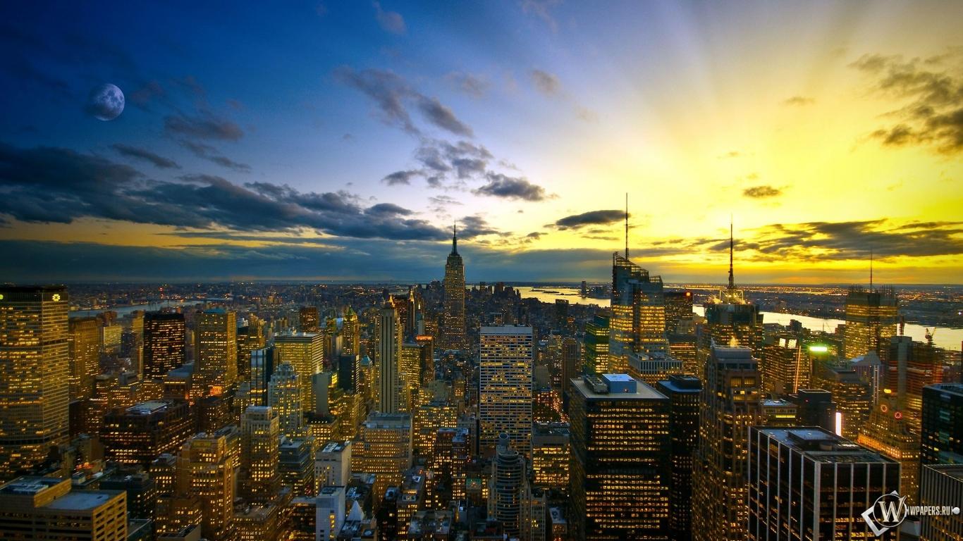Обои вечернее небо над городом огни