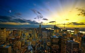 Обои Вечернее небо над Городом: Огни, Вечер, Небо, Прочие города