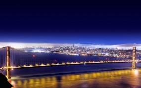 Обои Золотые ворота: Огни, Мост, Ночь, Золотые ворота, Сан-Франциско, Прочие города