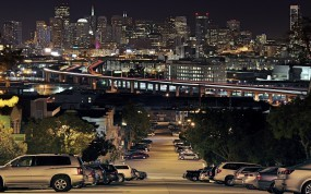 Обои Portrero Hill: Огни, Дорога, Ночь, Сан-Франциско, Portrero Hill, Дома, Прочие города