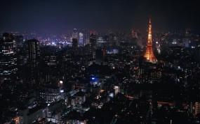 Обои Токио ночью: Огни, Ночь, Небоскрёбы, Япония, Токио, Прочие города
