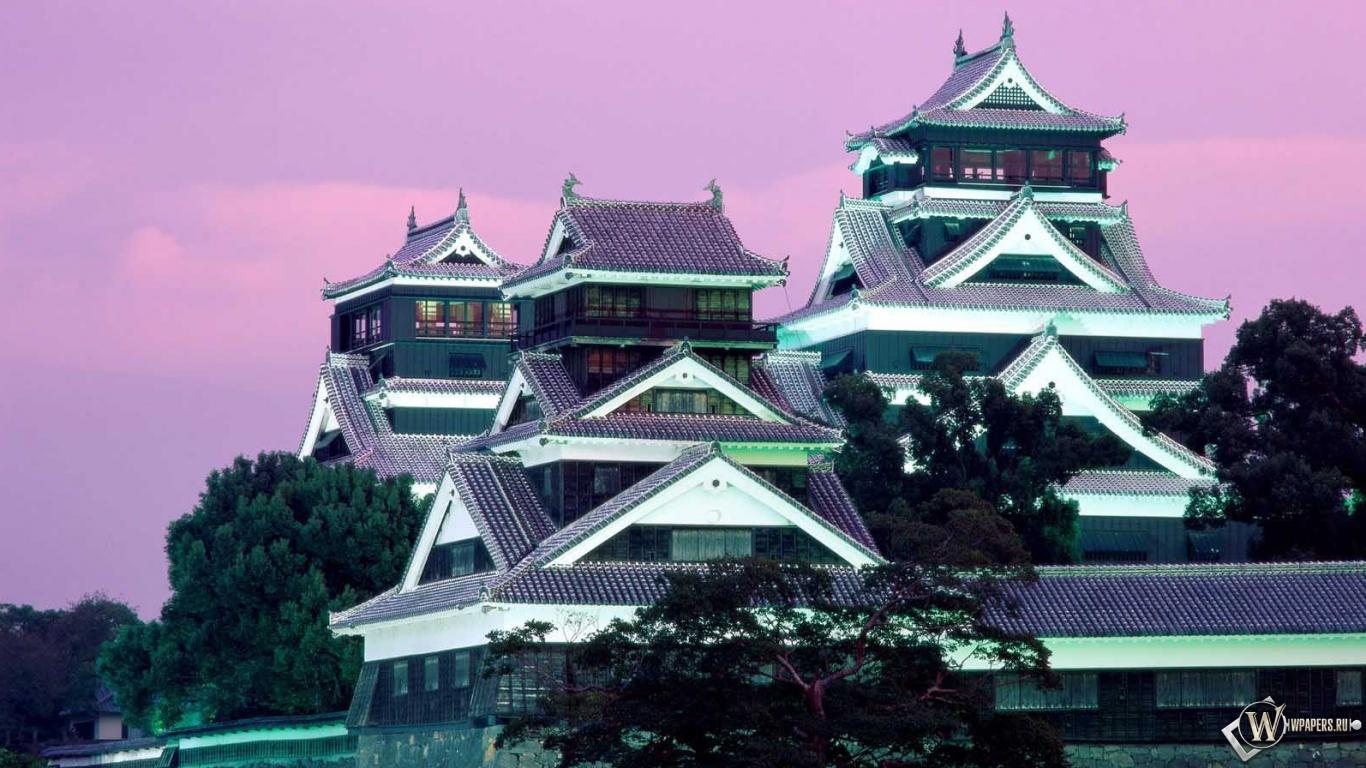 Замок япония кумамото 1366x768 картинки