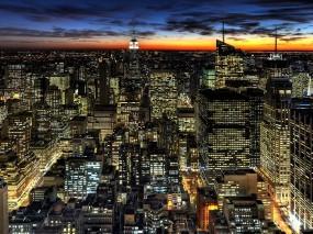 Обои Ночьной город: Город, Ночь, Дома, Улицы, Кварталы, Прочие города