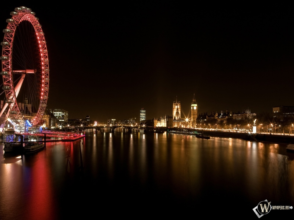 Обои лондон река колесо лондон 1024x768