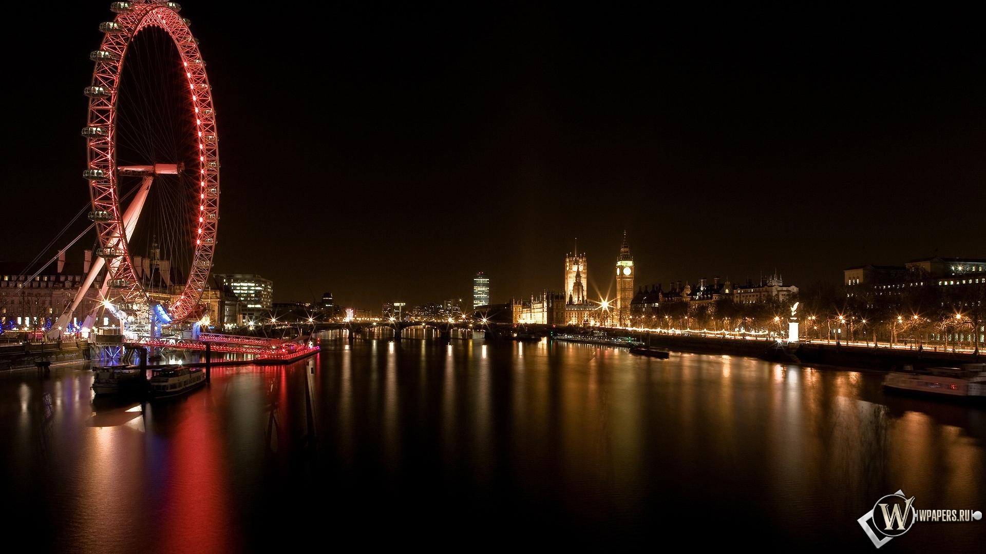 Обои лондон река колесо лондон