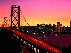 Обои Мост на закате: Город, Мост, Закат, Прочие города
