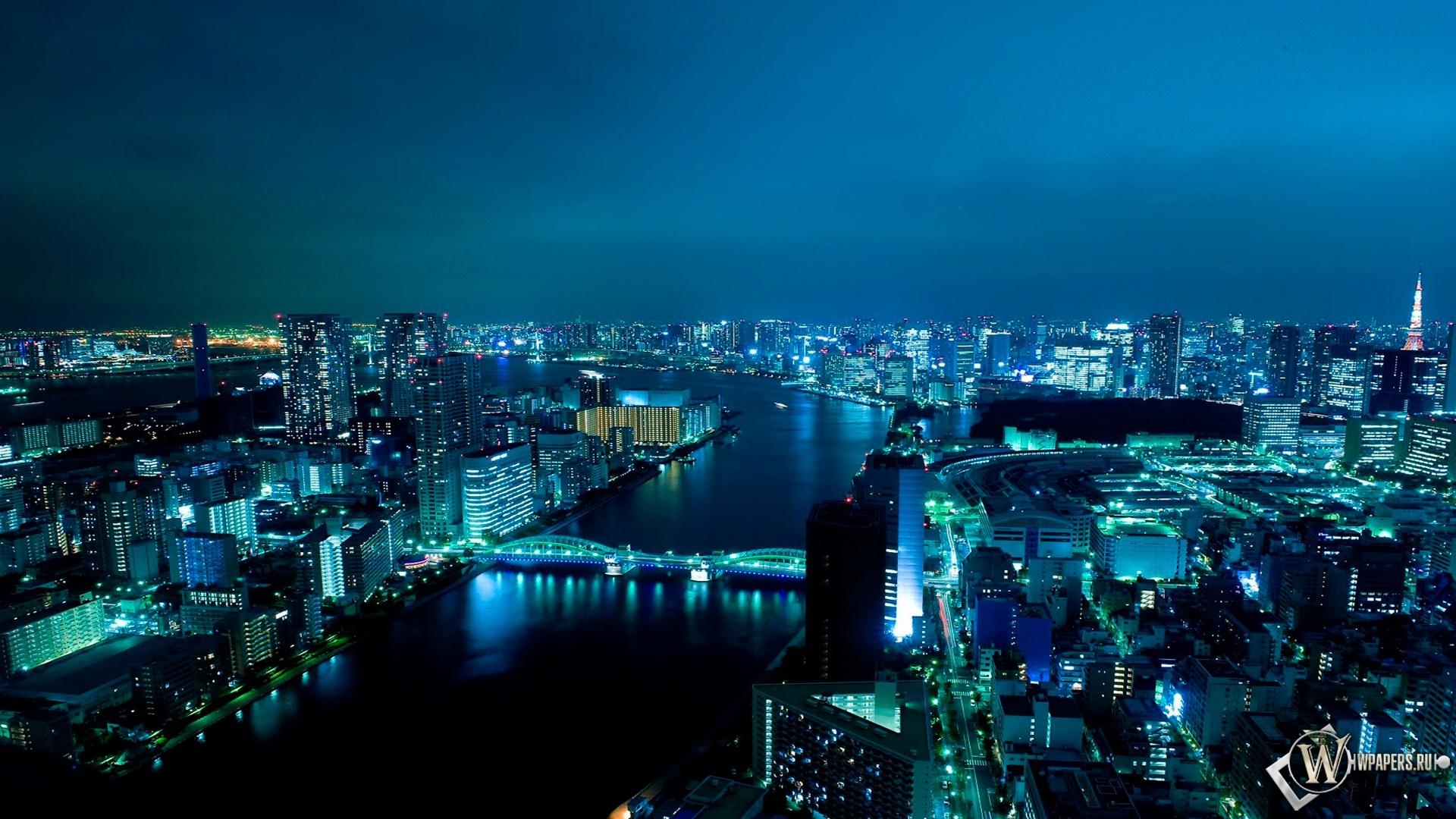 Обои япония ночью фонари вода