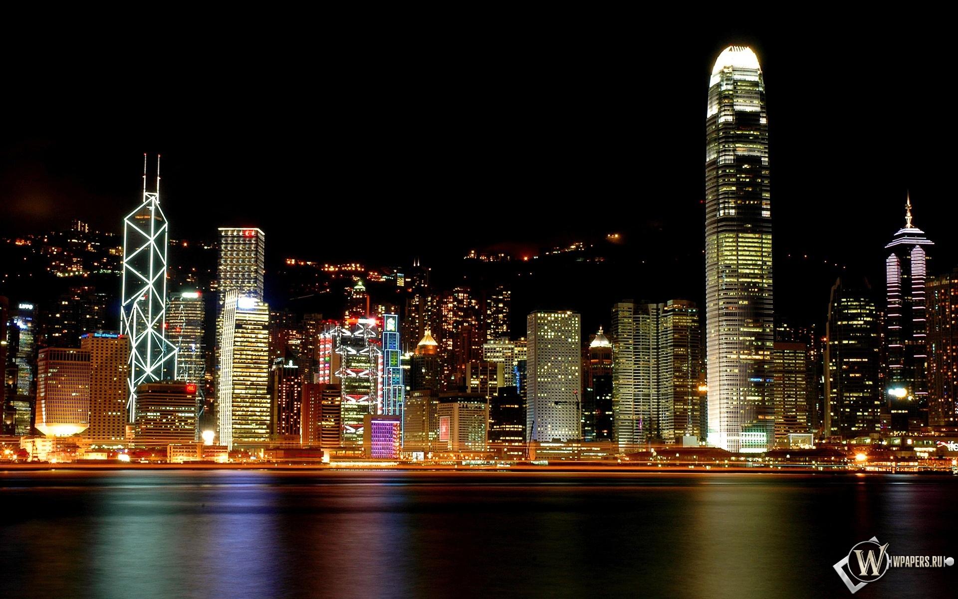 Гонконг архитектура ночь город страны  № 2229875 без смс