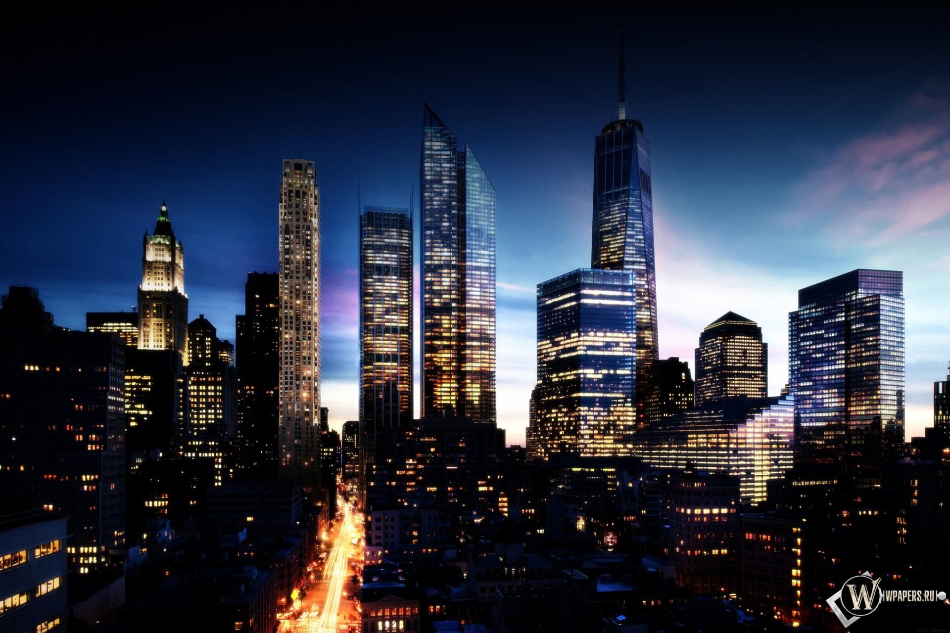 Обои манхэттен в будущем город