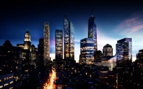 Обои Манхэттен в будущем: Город, Мегаполис, Будущее, Прочие города