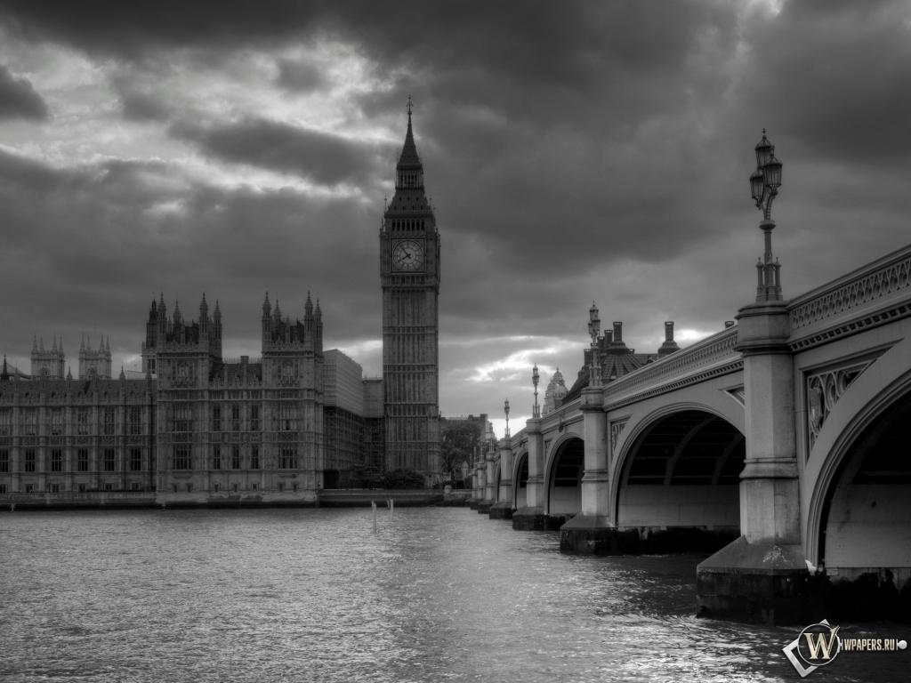 Обои лондон башня часы лондон 1024x768