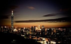 Обои Ночной Тайбэй: Вечер, Небоскрёбы, Тайбэй, Прочие города