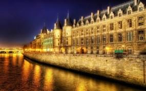 Обои Париж ночью: Огни, Река, Франция, Ночь, Париж, Париж