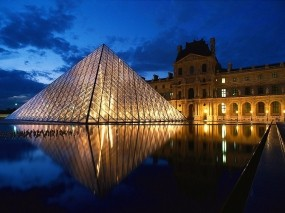 Обои Лувр - Париж - Франция: Франция, Пирамида, Париж, Лувр, Париж