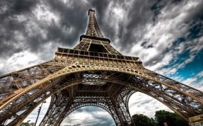 Обои Эйфелева башня: Облака, Париж, Эйфелева башня, Париж