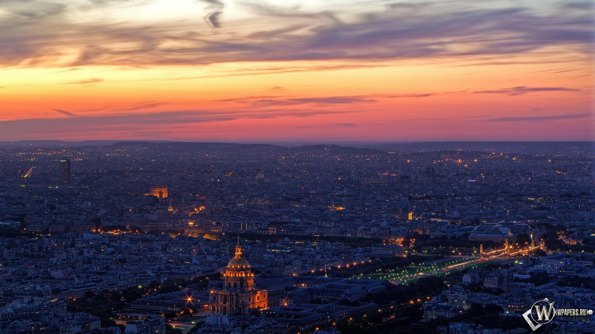 Обои париж облака огни вечер париж