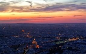 Обои Париж: Облака, Огни, Вечер, Париж, Париж