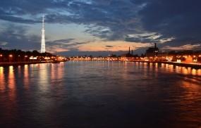 Обои Мост через Неву: Огни, Город, Ночь, Санкт-Петербург, Нева, Санкт-Петербург