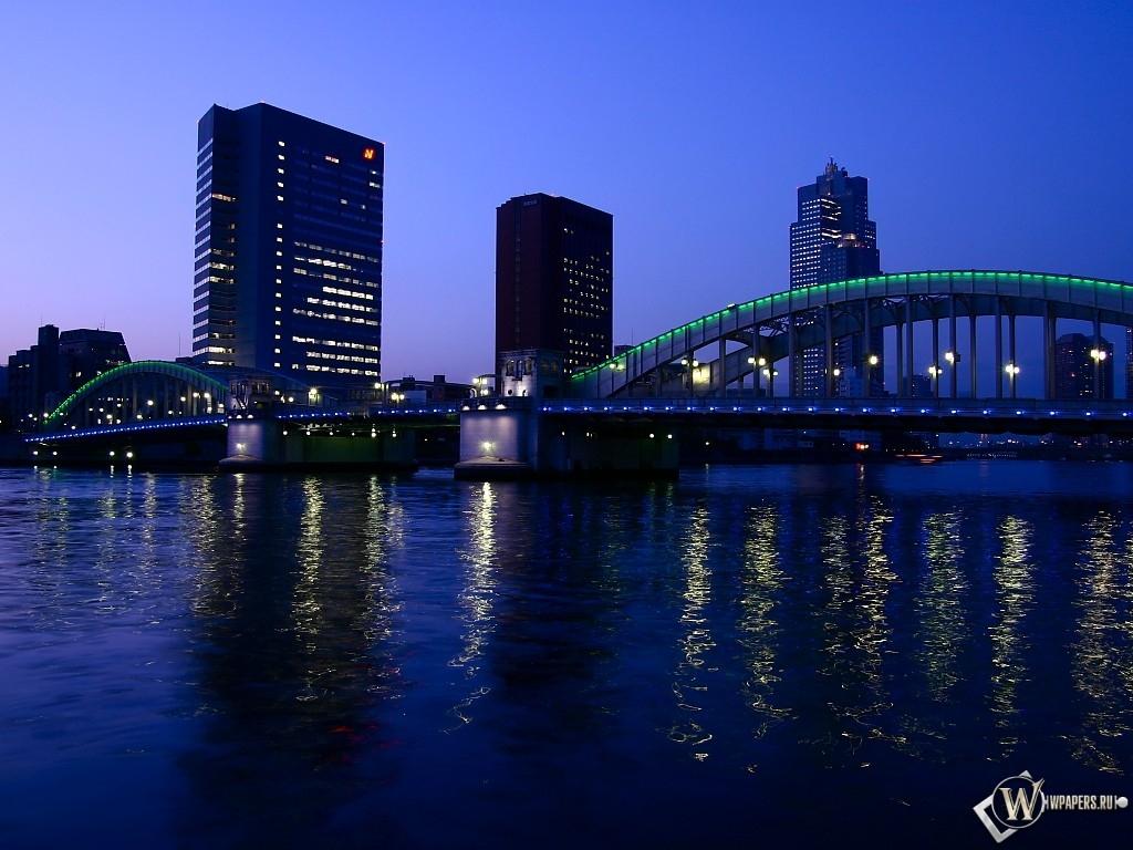 Обои ночной город ночной город река