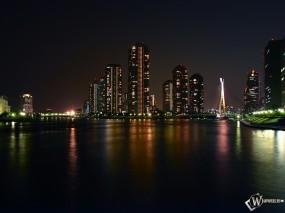 Обои Фото ночного города: Ночной город, Небоскрёбы, Города и вода