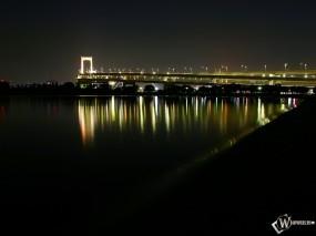 Обои Мост в ночи: Мост, Ночь, Города и вода